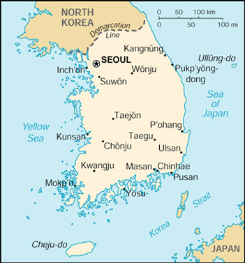Map of Korea, Republic of