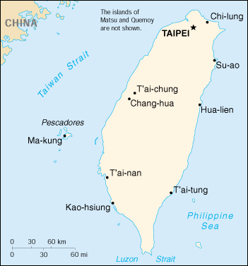 Map of Taiwan (Republic of China)